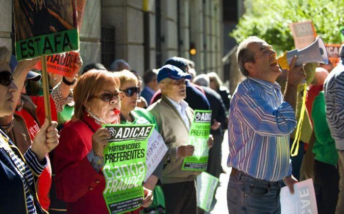 Protestas de afectados por las preferentes.