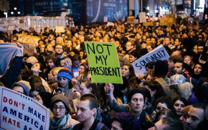 Protesta contra Donald Trump en Nueva York.