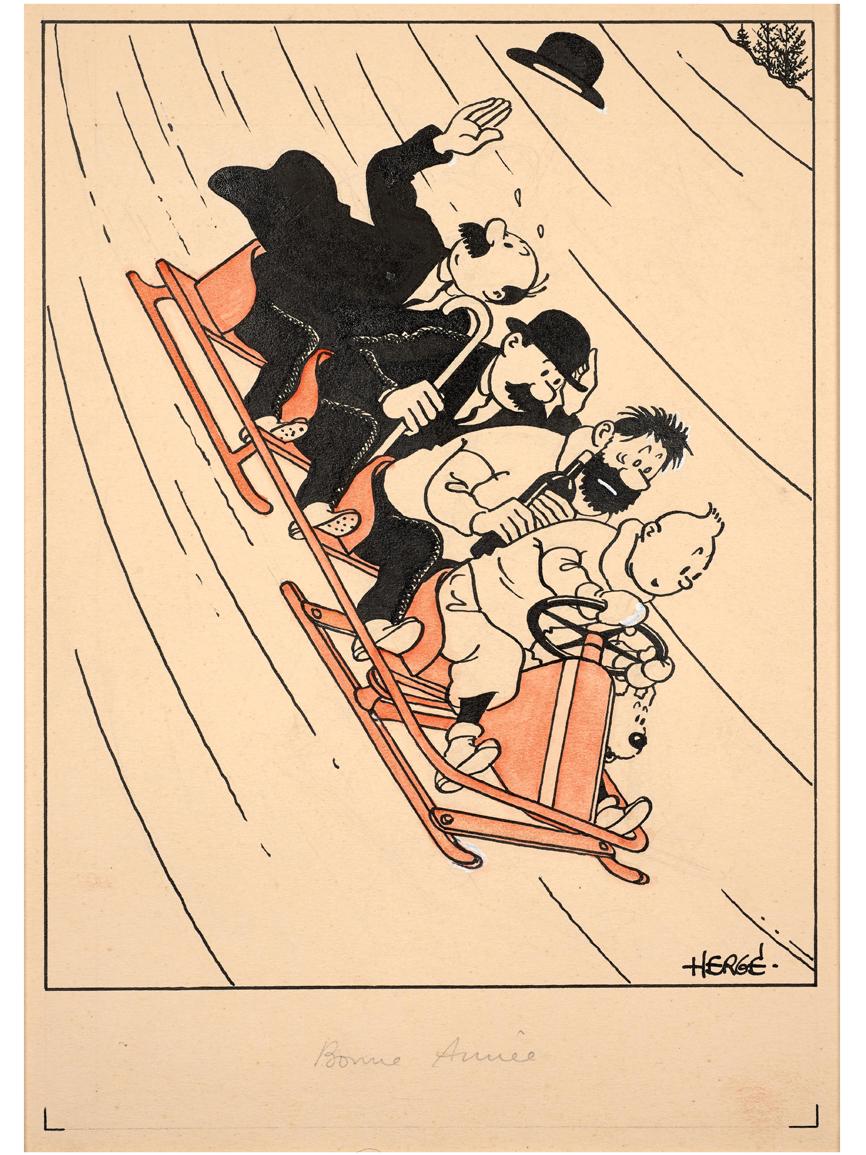 Representa a Tintín, Milou, el capitán Haddock y los agentes...