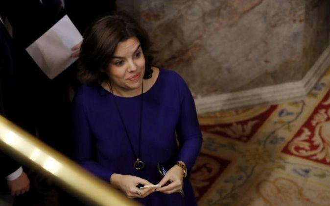 La vicepresidenta del Gobierno, Soraya Sáenz de Santamaría, esta...