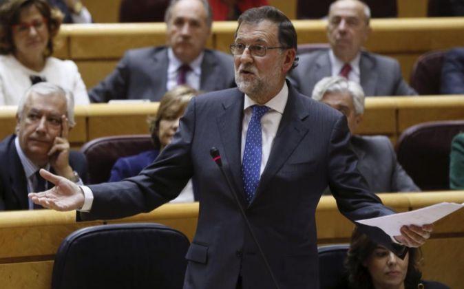 El presidente del Gobierno, Mariano Rajoy, interviene en el Senado...