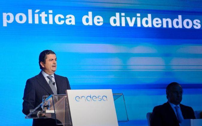 Borja Prado, presidente de Endesa, durante la última junta de...
