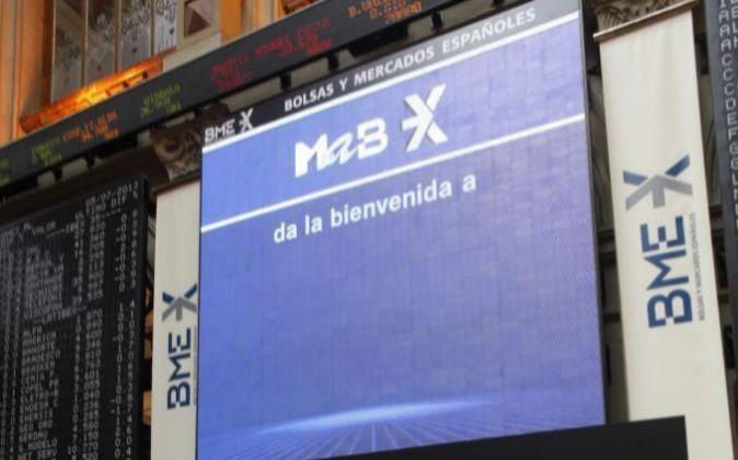 Imagen del monitor principal de la Bolsa de Madrid