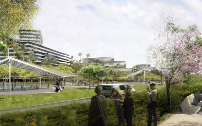 Recreación virtual del futuro macrocomplejo turístico de Tarragona.