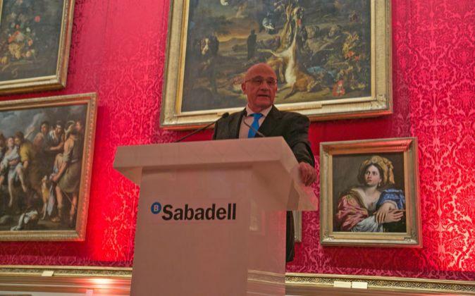 Josep Oliu, durante el encuentro que tuvo lugar en el museo The...