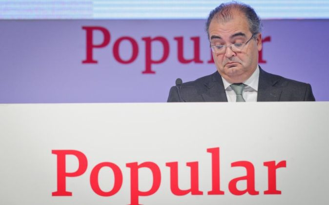 Ángel Ron, presidente de Banco Popular, en la última junta de...