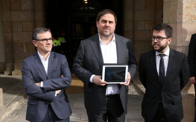 Junqueras presenta los presupuestos de la Generalitat en el Parlament.