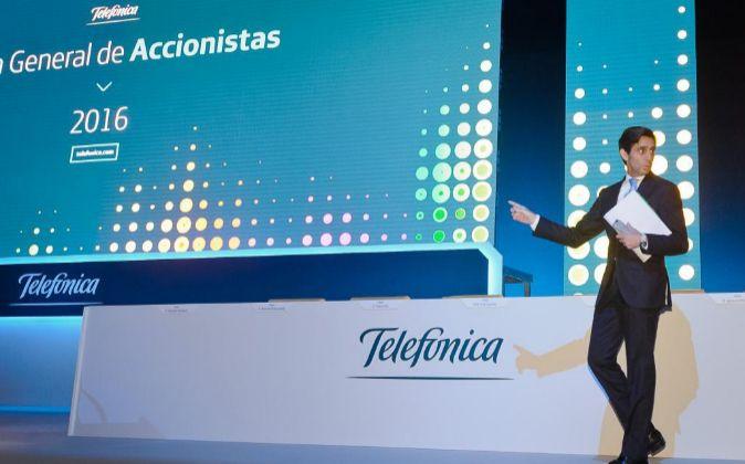 Imagen de la última junta general de accionistas de Telefónica con...