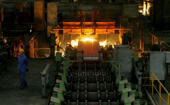 Planta de producción de acero en China