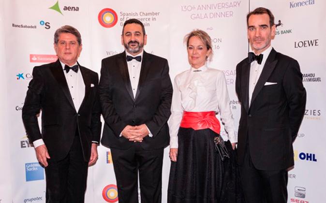 De izq. a dcha.: el embajador Federico Trillo, Alex Cruz, María José...