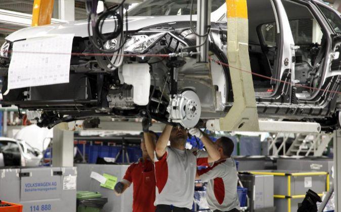 Cadena de montaje en el fábrica de Seat en Martorell (Barcelona).