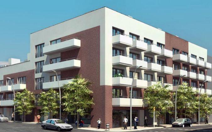 Boceto de un bloque de viviendas.