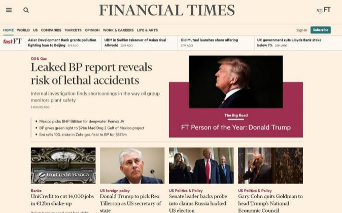 La página web de Financial Times destaca hoy la elección de Trump...