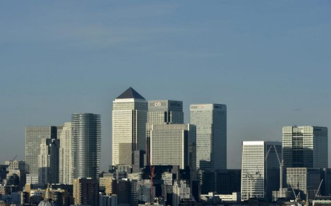 Vista general del distrito financiero Canary Wharf.