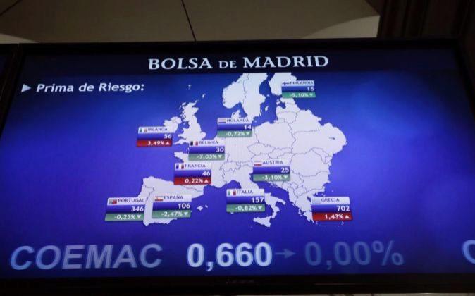 Imagen del monitor de la Bolsa de Madrid con la evolución de las...