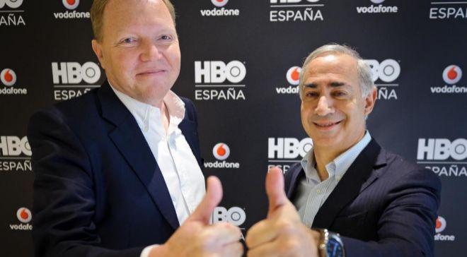 Antonio Coimbra, consejero delegado de Vodafone España,  y Hervé...
