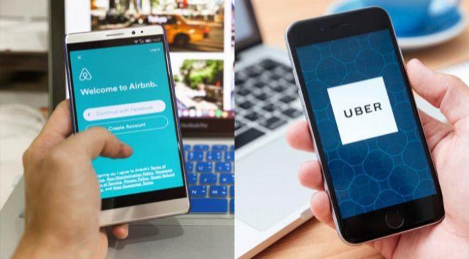 Aplicaciones de Airbnb y Uber.