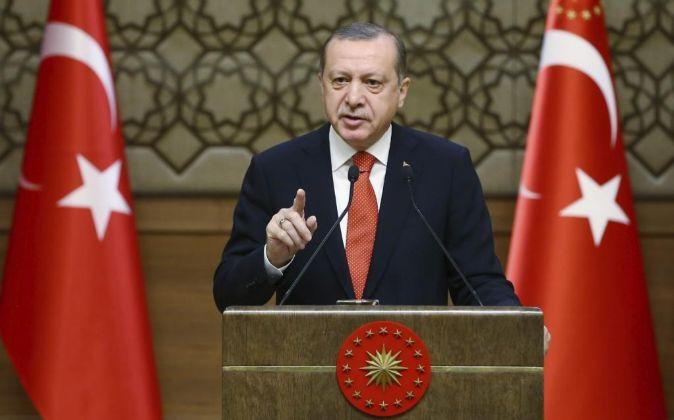 El presidente turco, Recep Tayyip Erdogan, durante un discurso en...