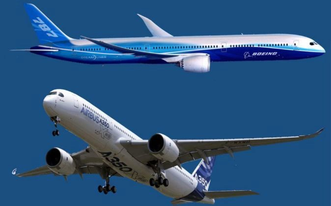 Fotomontaje de un avión de Boeing y uno de Airbus.