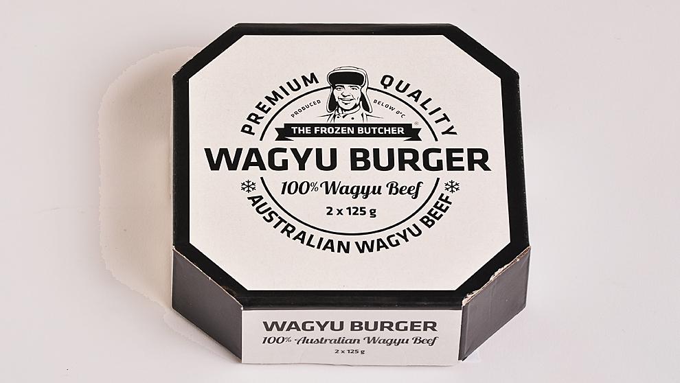 El envase de la hamburguesa de Wagyu de 250 g. incluye 2 unidades y...