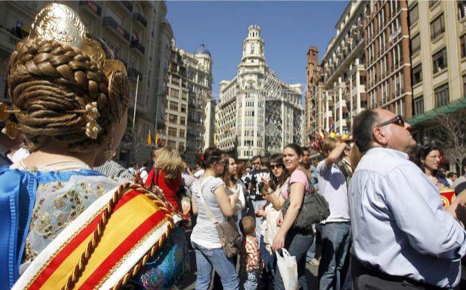 Imagen de la Plaza del Ayuntamiento durante unas Fallas.