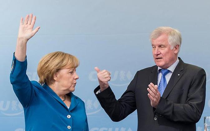 Angela Merkel y Horst Seehofer, primer ministro de Baviera.