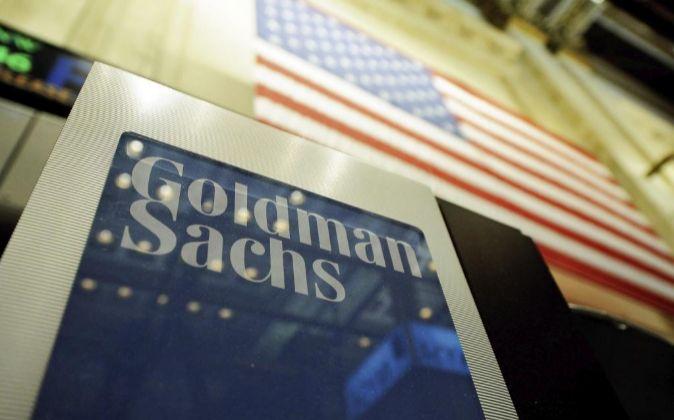 Firma de Goldman Sachs durante la apertura de la Bolsa de Nueva York,...