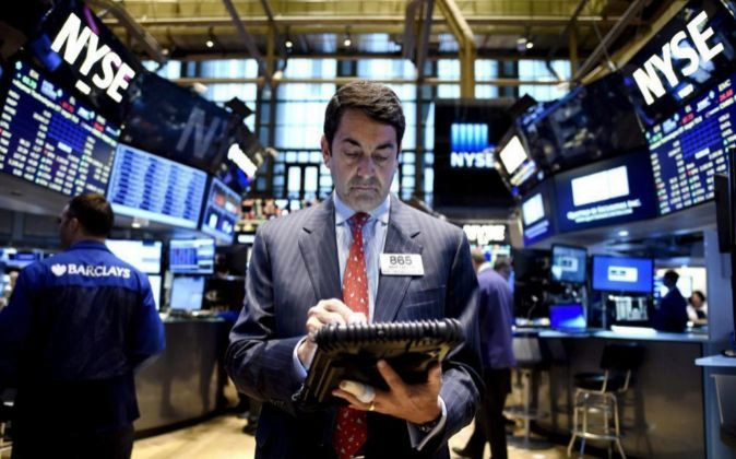 Agentes de bolsa en Wall Street.