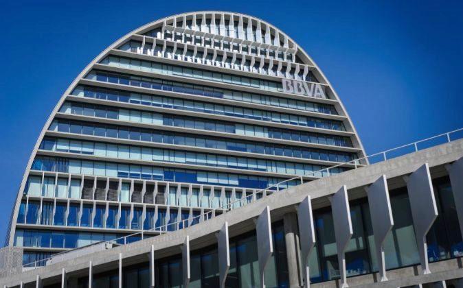 Vista de la sede central de BBVA en Madrid.