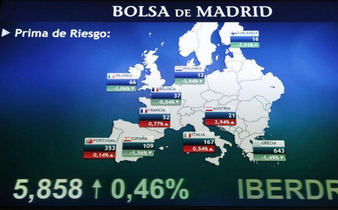 Imagen de hoy del monitor de la Bolsa de Madrid con las primas de...