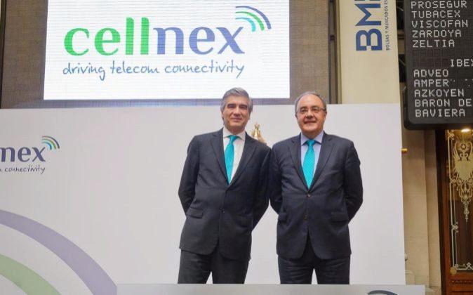 Salida a Bolsa de Cellnex en 2015, con su presidente Francisco Reynés...