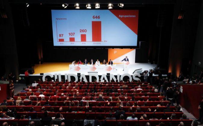 Vista de la IV Asamblea General de Ciudadanos que se celebra en el...