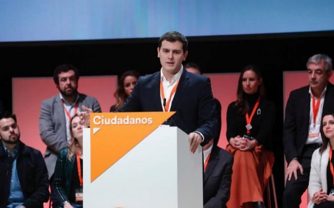 El presidente de Ciudadanos Albert Rivera durante su intervención en...