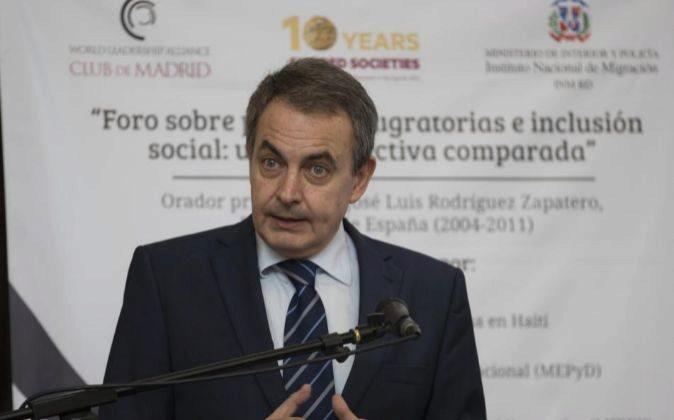 El expresidente español José Luis Rodríguez Zapatero , en una...