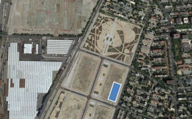 Imagen aérea del solar subastado en Madrid por el Ministerio de...