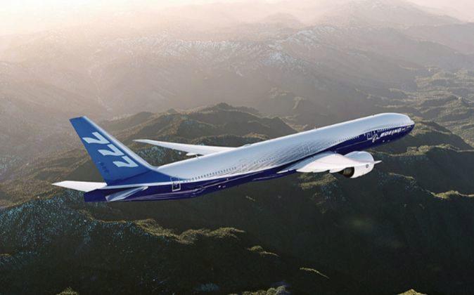 Imagen de un avión 777 de Boeing