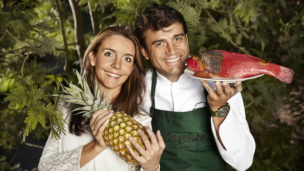El dueño de Amazónico, Sandro Silva y su mujer, Marta Seco.