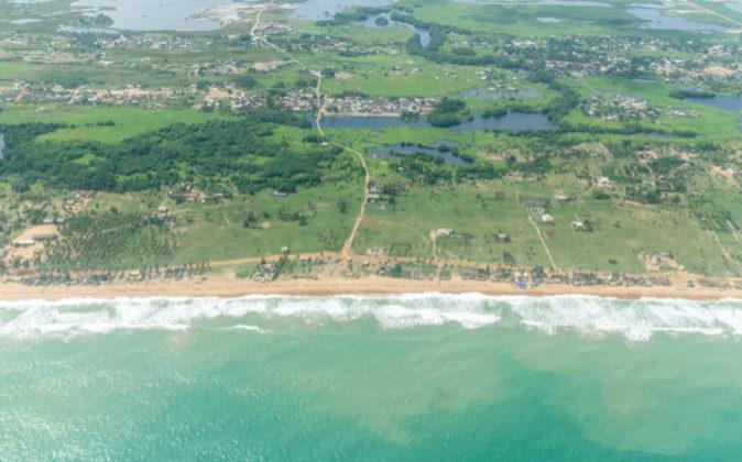 Vista aérea de la ciudad de Cotonú, donde se localiza la mayor parte...