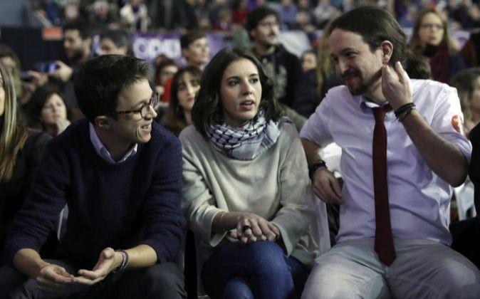 Los dirigentes de Podemos Íñigo Errejón, Irene Montero y Pablo...