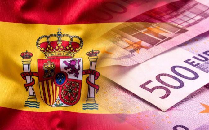 ESPAÑA COLORES BANDERA ESPAÑOLA. BILLETES DE EURO. DINERO. EUROS.