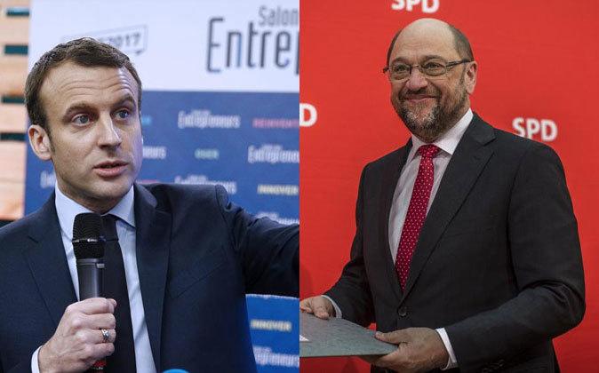 Emmanuel Macron y Martin Schulz.