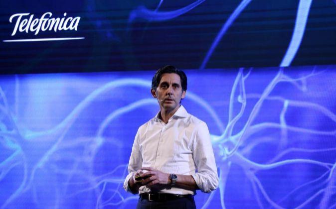 El presidente de Telefónica José María Álvarez Pallete en el MWC.
