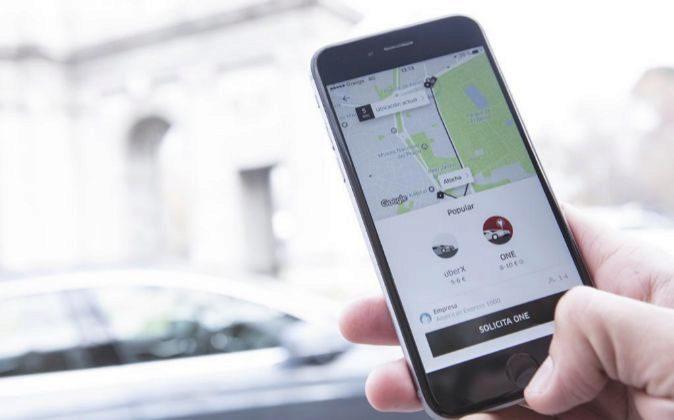 Aplicación Uber en la ciudad de Madrid.