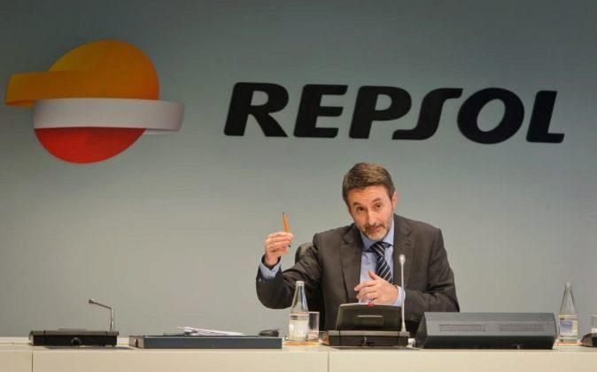 EL CONSEJERO DELEGADO DE REPSOL, JOSU JON IMAZ, EN LA PRESENTACION DEL...