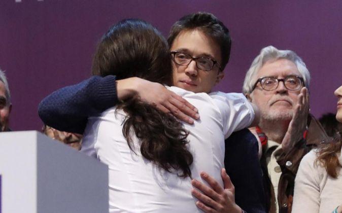 Los dirigentes de Podemos Iñigo Errejon y Pablo Iglesias.