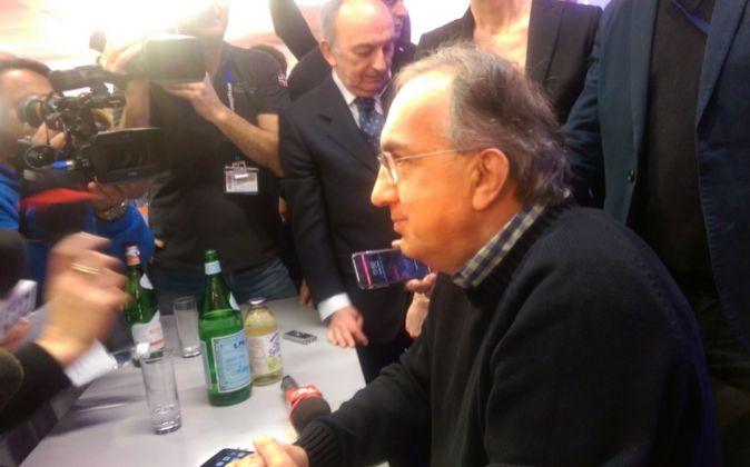 Sergio Marchionne, presidente de Ferrari, durante la rueda de prensa...