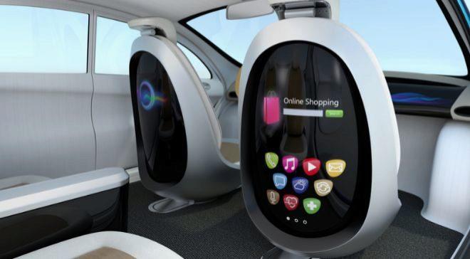 Concepto del interior de un coche autónomo.