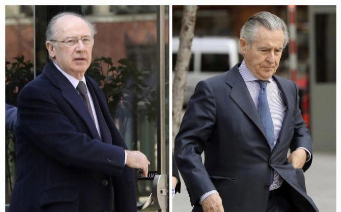 Fotografías de los expresidentes de Caja Madrid, Rodrigo Rato y...
