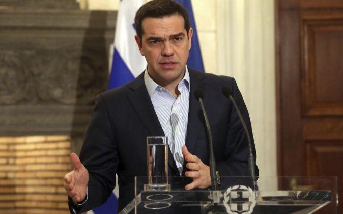 El primer ministro de Grecia, Alexis Tsipras en una rueda de prensa...