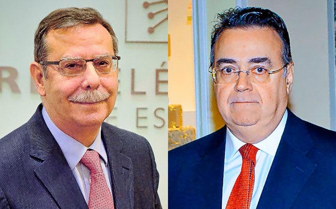 José Folgado (izquierda) y Antonio Llardén, presidentes de REE y...